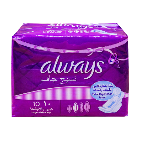 Always Pad Large With Wings 10 Pcs