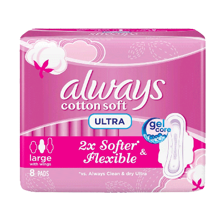 Always Pads Ultra Cotton Soft Large 8 Pcs